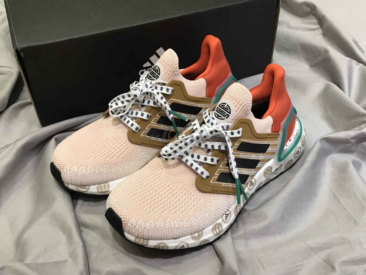 Adidas Ultra Boost 20 Cream Orange Pattern Logo
