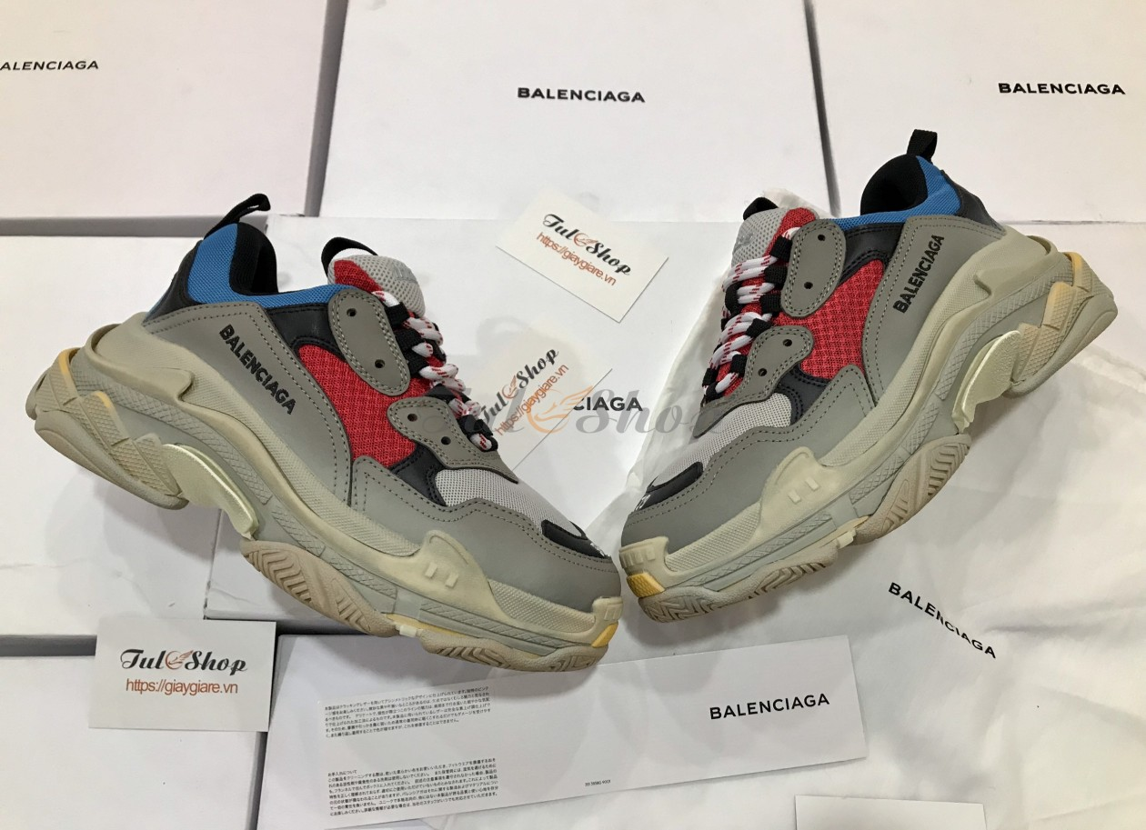 Balenciaga Triple S Grey Red Blue Nam Nữ