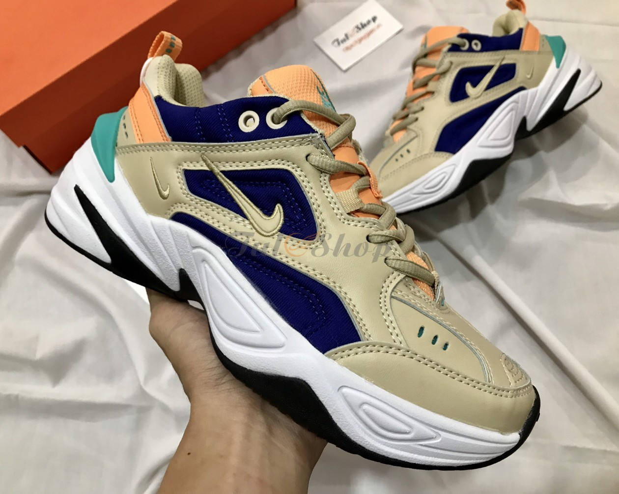 Nike m2k cream blue orange nam nữ
